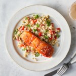 Salmon with Roasted Red Pepper Quinoa Salad