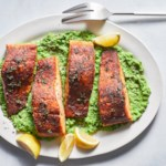 Old Bay Salmon with Lemony Mashed Peas
