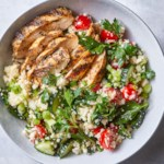 "Spiced Grilled Chicken with Cauliflower ""Rice"" Tabbouleh"