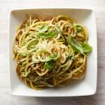 Spaghetti & Zucchini Noodles with Basil-Walnut Pesto