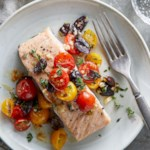 Roasted Salmon & Tomatoes with Garlic & Olives