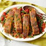 Spice-Seared Salmon with Greek-Style Green Beans