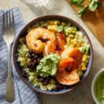 Southwestern Cauliflower Rice Bowls with Shrimp & Avocado Crema