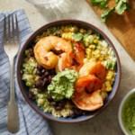 Southwestern Cauliflower Rice Bowls with Shrimp & Avocado Crema