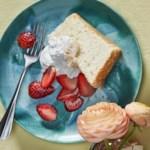 Lemon Angel Food Cake with Strawberries & Coconut Cream