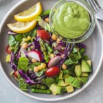 Crunchy Summer Salad with Creamy Vegan Avocado Dressing