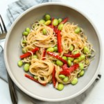 Spicy Garlic Instant Ramen Noodles with Edamame & Red Peppers
