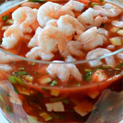 Tomato Shrimp Ceviche Recipe - Baby shrimp are marinated in tomato sauce, creating a great dip for parties and entertaining!