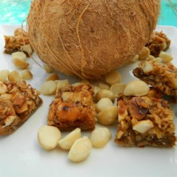 Hawaiian Macadamia-Coconut Squares Recipe - Instant coffee powder adds intrigue to these rich, chewy bars.