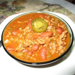 Miner's Chili Recipe - This beef chili with beans has a bit of a kick with hot salsa and a healthy dose of chili powder.