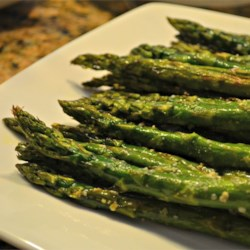 Oven-Roasted Asparagus Recipe - Parmesan cheese adds a salty, savory component to sweet, tender asparagus. Try it next to grilled fish or lamb.