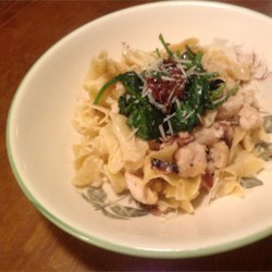 Marscarpone Pasta with Chicken, Bacon and Spinach