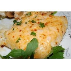Heavenly Halibut Recipe - Rich, cheesy topping goes perfectly with mild flavored halibut.