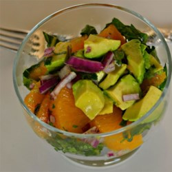 Mandarin Orange, Cilantro, and Avocado Salsa Recipe - Make a colorful and refreshing salsa with avocados, mandarin oranges, cilantro, and a squeeze of lime for your next party.