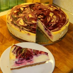 White Chocolate Blackberry Marbeled Cheesecake