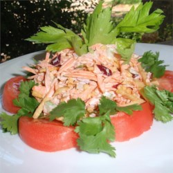 Milly's Tuna on a Shoestring Recipe - Tuna salad is tossed with shoestring potatoes for a delightful crunch.