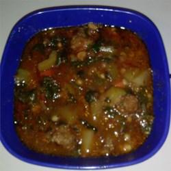 Italian sauage/yucca soup