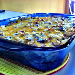 Easter Brunch Casserole Recipe - This casserole of hash browns, green chiles, and sausage is assembled the night before, and makes a welcome addition to a special brunch.