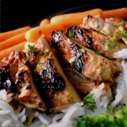 Orange Teriyaki Chicken Recipe - Orange juice concentrate lends a fruity tone to teriyaki sauce in this simple marinade for grilled chicken.