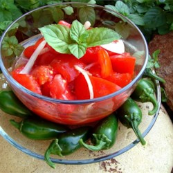 Chrissy's Sweet 'n' Sour Tomato Salad Recipe - An easy-to-prepare, delicious sweet and sour tomato salad just right to complement any meal--or eat alone!