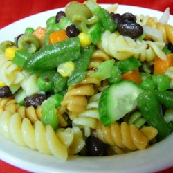 Patchwork Quilt Pasta Salad Recipe - A wonderful selection of vegetables with a zippy brown mustard and cider vinegar dressing mixed in.