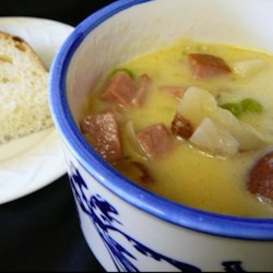 New England Potato Soup Recipe - Simmer potatoes and ham in a creamy, herb-infused broth for a warm bowl of New England potato soup on those cold winter evenings.