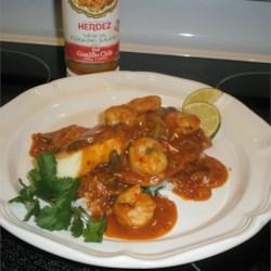 Cajn Baked Tilapia with Herdez ® Guajillo Chile Shrimp Etouffee