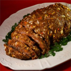 Very Old Meatloaf Recipe Recipe - This vintage recipe for meatloaf is accented with apple, carrot, and onion.