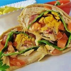 Chicken Salad Wraps Recipe - Great picnic or lunch sandwich, with a salsa twist. For a spicier version, add some finely chopped jalapeno chile peppers! It's a wrap!