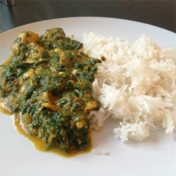 Chicken Saag Recipe - The classic Indian chicken and spinach dish gets richness from sour cream.