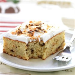 Butterfinger Banana Cake Recipe - Banana and Nestlé Butterfinger candy add to the flavor and moistness of this delicious cake.