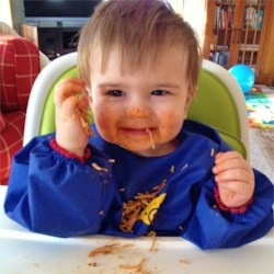 Grandbaby Andrew loves spaghetti!
