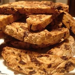 Chocolate and Almond Biscotti Recipe - Lots of chocolate chips make this biscotti irresistible.