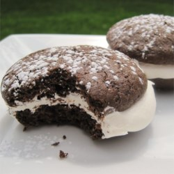 Whoopie Pies Recipe and Video - Little chocolate cakes with creamy filling. This recipe has been handed down in my family for quite sometime and hasn't had any complaints yet.