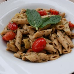 Penne with Mint Walnut Pesto