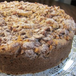 Easy Chocolate Chip Coffee Cake Recipe - Sweet and cinnamony pecans make a delicious topping for this chocolate chip cake.