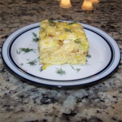 Potato and Leek Frittata Recipe - Leeks and potato are pan-fried and baked with eggs and mozzarella cheese creating a quick and easy frittata the whole family will love.