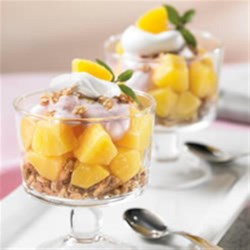 Yogurt Crunch Parfaits from DOLE(R) Recipe - These granola and yogurt parfaits with pineapple chunks make a great snack or quick breakfast.