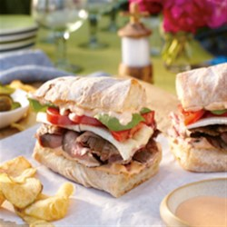 Grilled Flank Steak and Sriracha Mayo Recipe - This is a great east meets west dish.  It's a steak sandwich kicked up with Kikkoman Sriracha Mayonnaise!