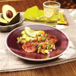 Marinated Grilled Salmon with Avocado and Stone Fruit Salsa
