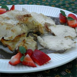 Strawberry Chicken Recipe - A light, savory-sweet dish of chicken breasts simmered in a wine-yogurt sauce with fresh strawberries is nice for spring.