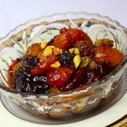 Really, Truly Gorgeous Dried Fruit Salad Recipe - A gorgeous fruit salad composed of soaked, cooked dried fruits with pine nuts and just a hint of honey. It's nice served cold with yogurt and a sprinkling of Demerara sugar.