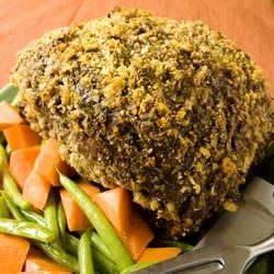 Breaded Rib Roast Recipe - Rib roast breaded with bread crumbs and Romano cheese then roasted slowly to keep it juicy and succulent.