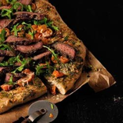 Pesto Steak and Arugula Pizza