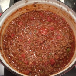 Southern-Style Meat Sauce Recipe - A spicy red sauce with plenty of beef, garlic and mushrooms.