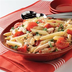 Bistro Chicken Pasta Salad Recipe - Full of Mediterranean flavors thanks to feta and fresh tomatoes and basil, this rivals a grilled chicken salad at your favorite restaurant. And it fits your smart eating plan.