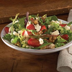 Strawberry-Feta Salad Recipe - Zippy balsamic and feta pair tastily with walnuts and fresh strawberries for a memorable summer salad that can fit into your healthy eating plan.