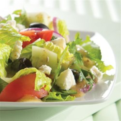 Greek Feta Salad from ATHENOS Recipe - This classic Greek salad combines cucumbers, tomatoes, kalamata olives, and crumbled feta cheese.