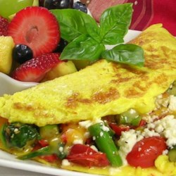 Greek Omelet with Asparagus & Feta