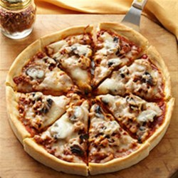 Deep Dish Italian Sausage and Mushroom Pizza
